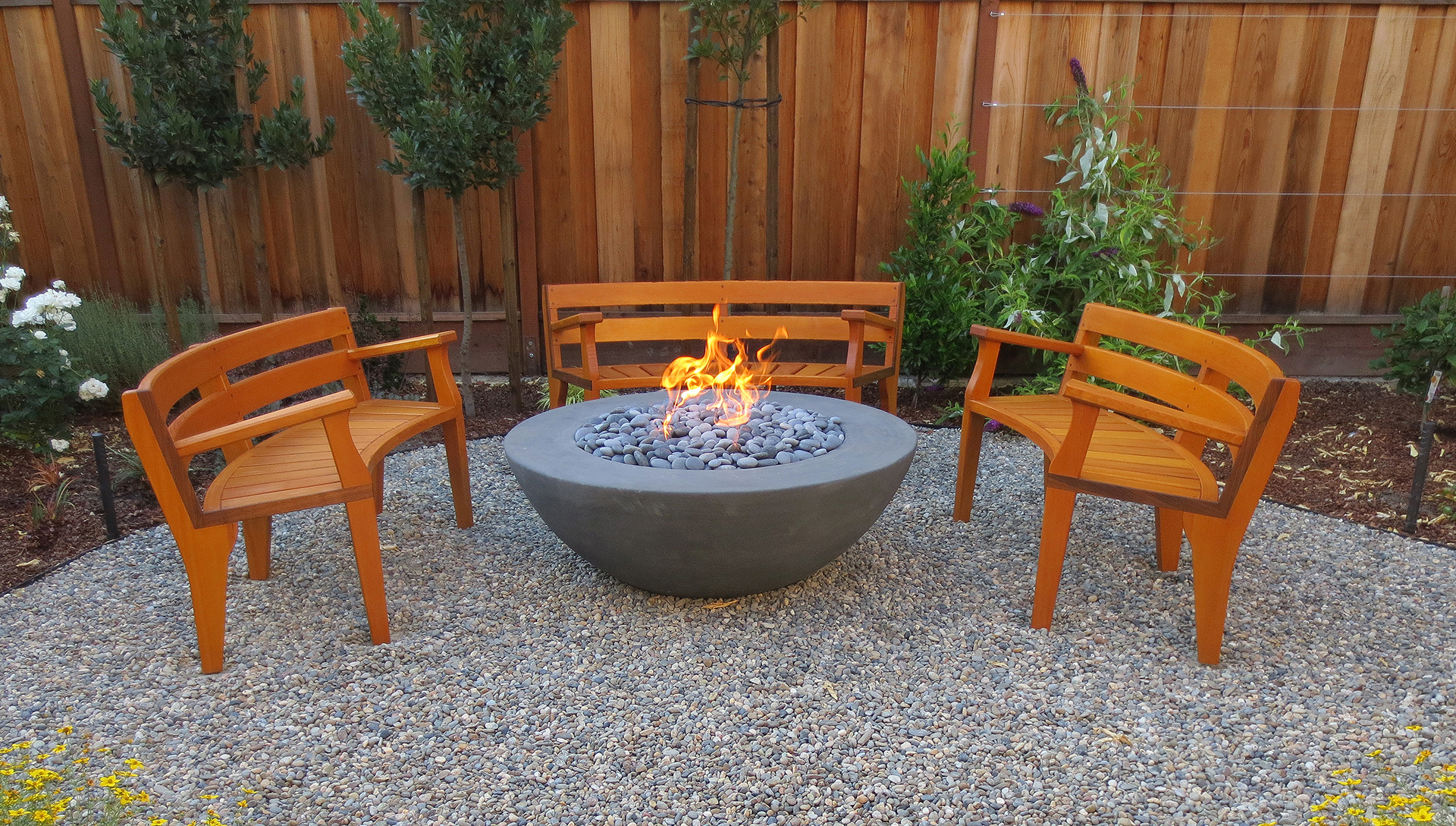Outdoor Furniture Vancouver Part - 39: These VG Fir Curved Benches Were Designed To Circle A Garden Fireplace.  Note The Very Complex Lamination Of The Back Rests. Due To The Incline, ...